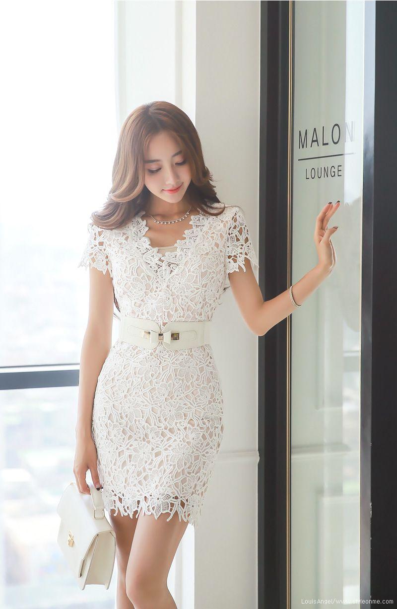 Crochet Lace V-Neck Short Sleeve Dress