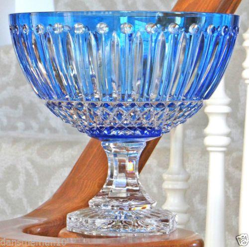 FABERGE XENIA CASED CRYSTAL PEDESTAL CENTERPIECE BOWL AZZURRO BLUE SIGNED | eBay