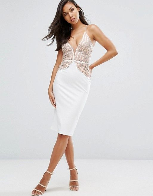 Rare London Pencil Dress With Scallop Lace Sequin Bodice at asos.com