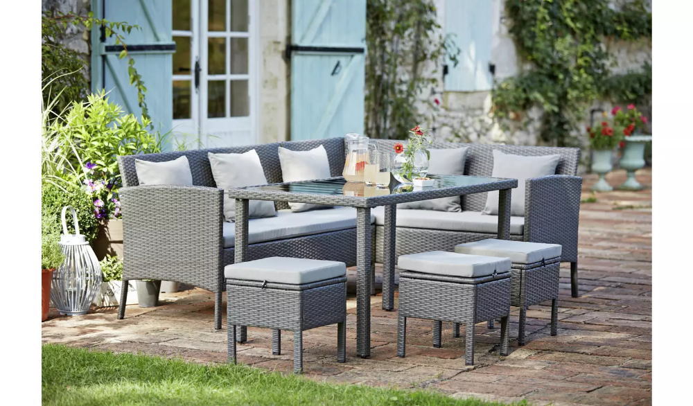 Buy Argos Home 8 Seater Rattan Effect Corner Sofa Set Grey Patio Sets Argos In 2020 Corner Sofa Set Garden Table And Chairs Outdoor Dining Furniture