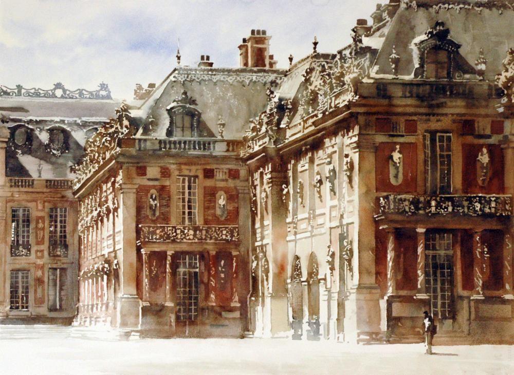 Paul Dmoch Le Chateau De Versailles France Aquarelle 56 X 76