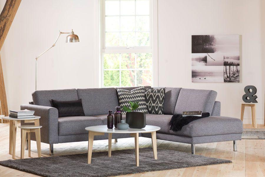 48409522 Åpen ende høyre. Tekstil Modena 140 Lys Grå. Cleveland Sofa, Living Room  Interior