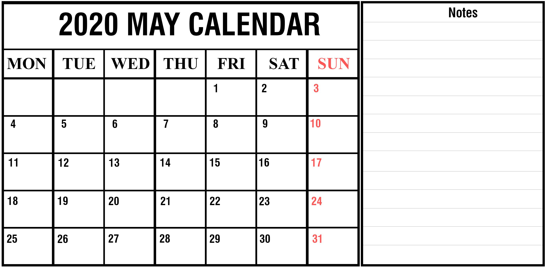 May Calendar Printable Template In Word Excel