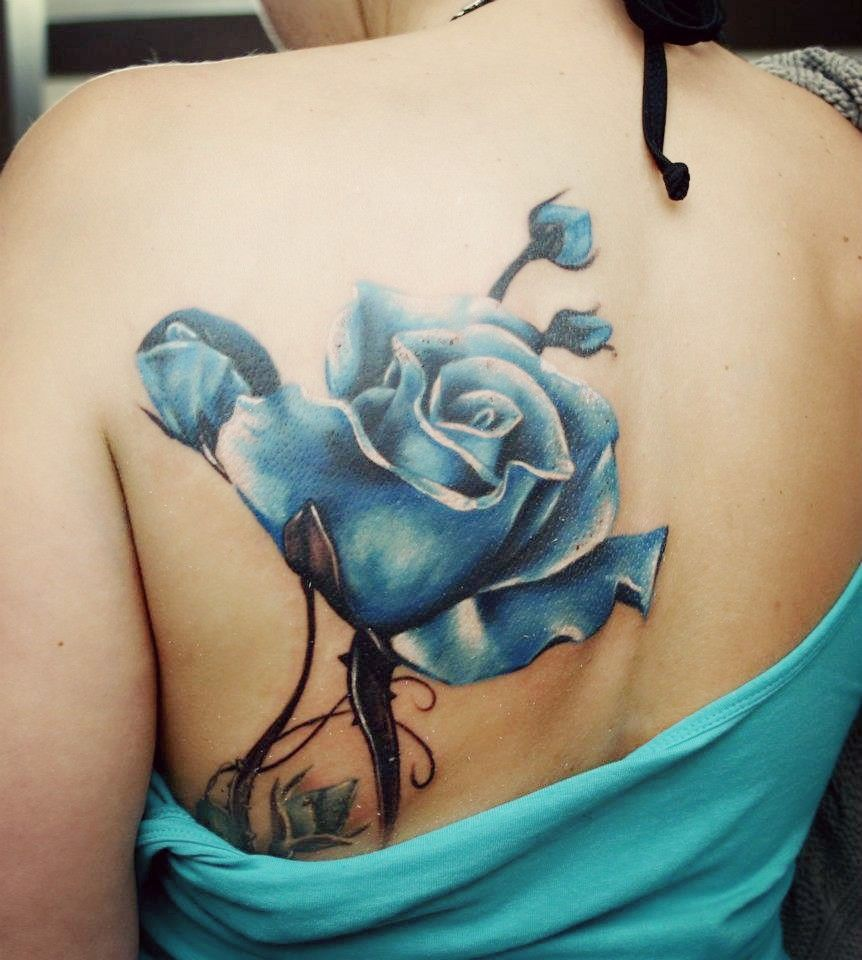 Blue Rose Blue Rose Tattoos Shoulder Blade Tattoo Flower