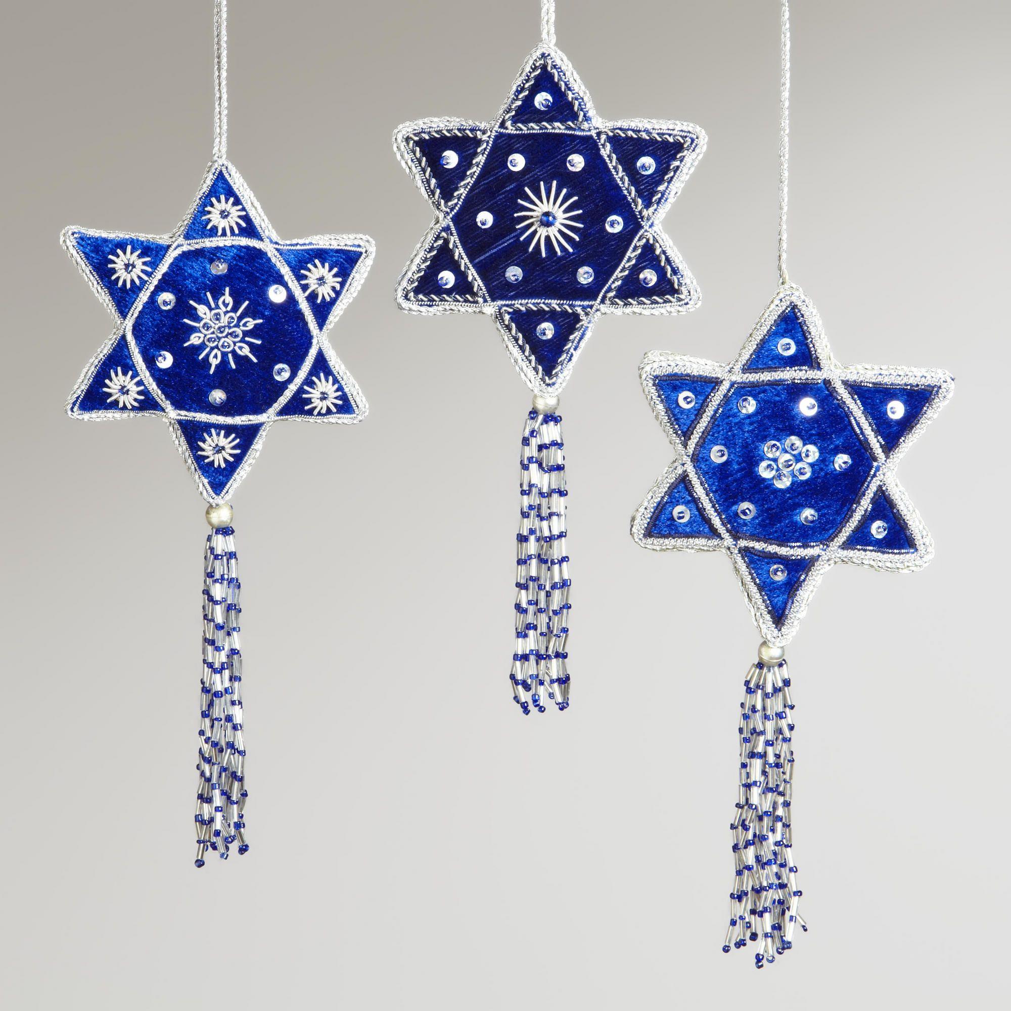 Star Of David Ornaments Set Of 3
