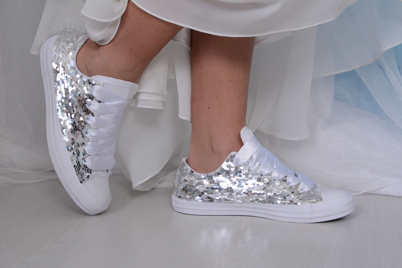 Silver Sequin Converse Trainers White