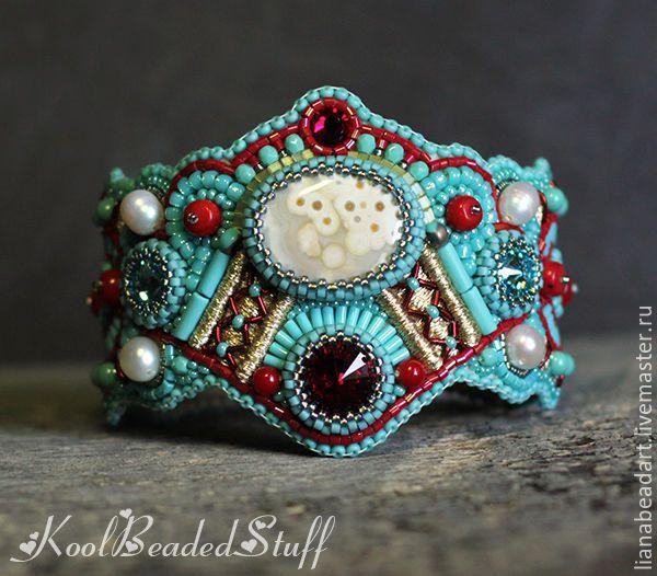 Купить Raffa - бирюзовый, красный, подарок, морской браслет, летнее украшение…