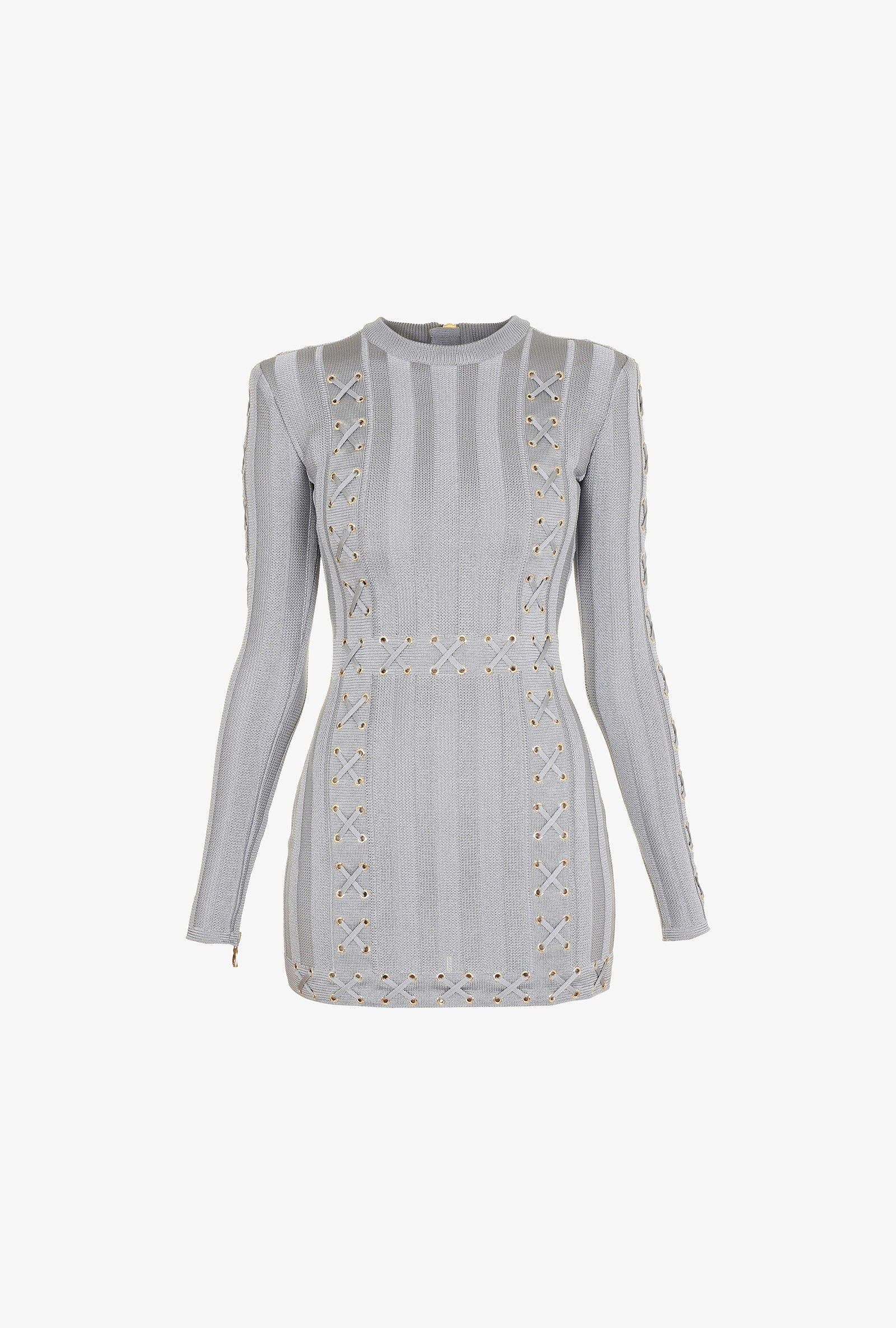 120d7695aee6 Balmain - Grey lace-up knit mini dress
