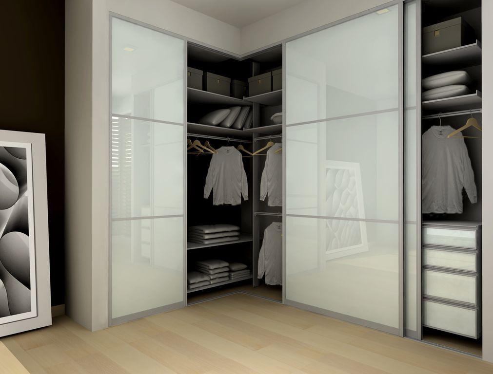 Modern Closet With Frosted Glass Sliding Closet Doors Bamboo
