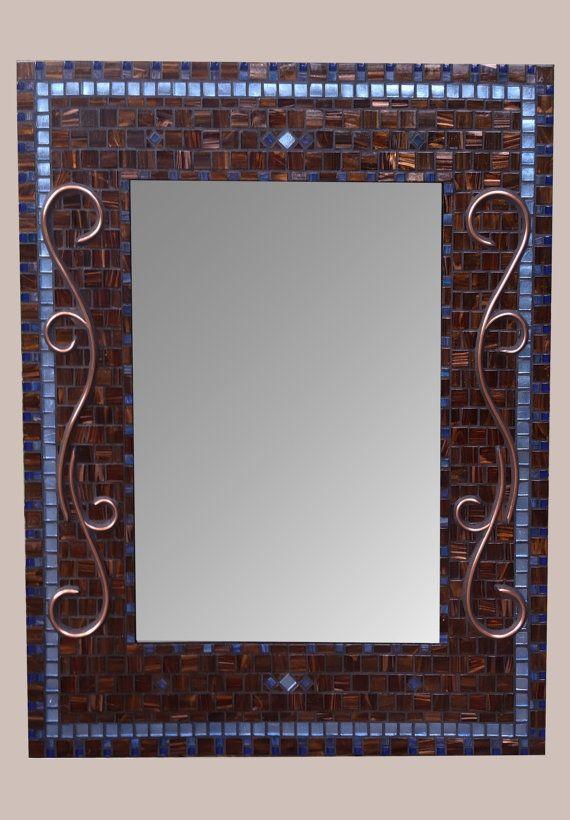 Ordinaire Decorative Bathroom Mirror Copper Brown Blue By RoxannesMirrors