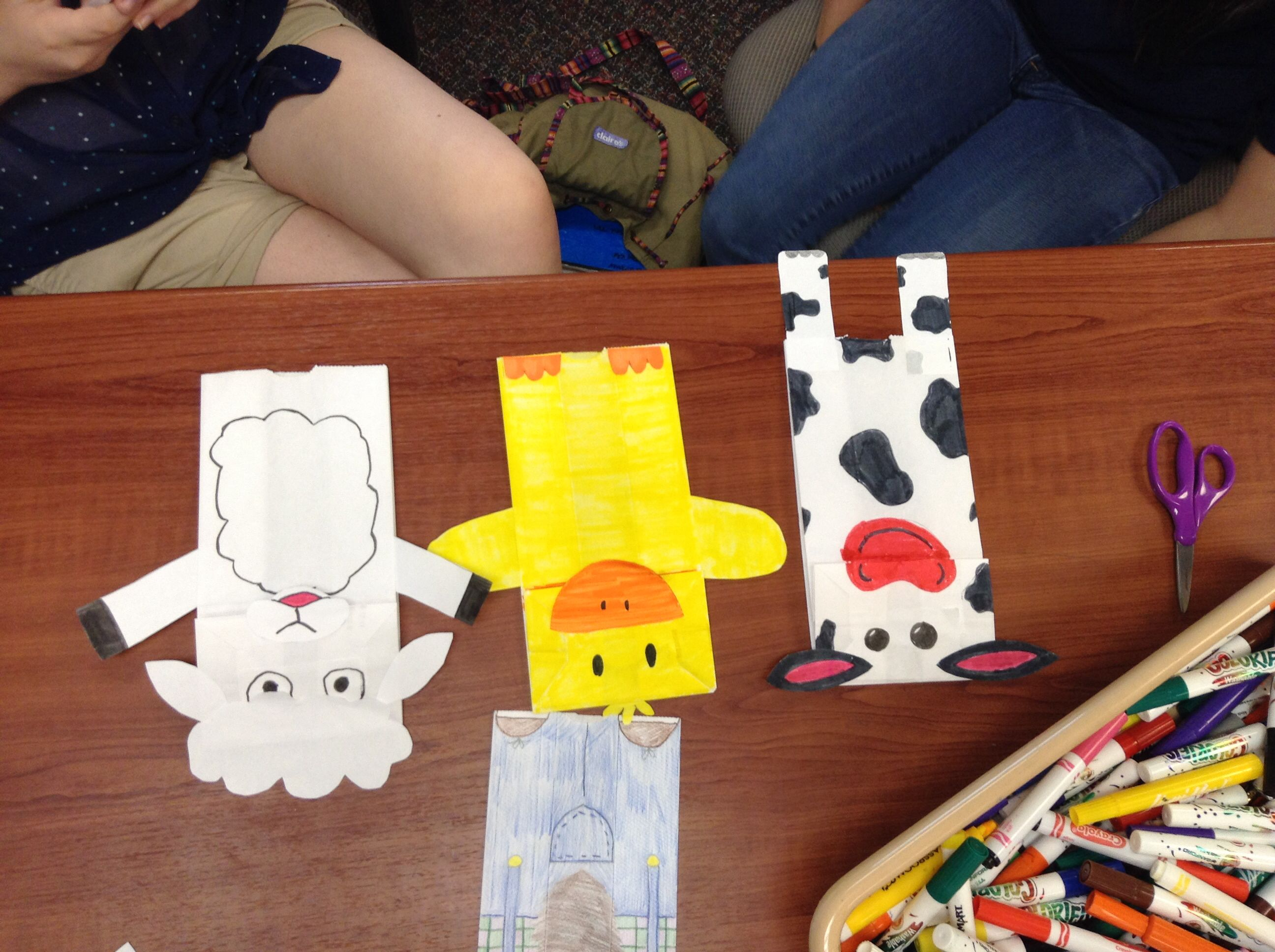 Cow Duck And Sheep Paper Bag Puppets