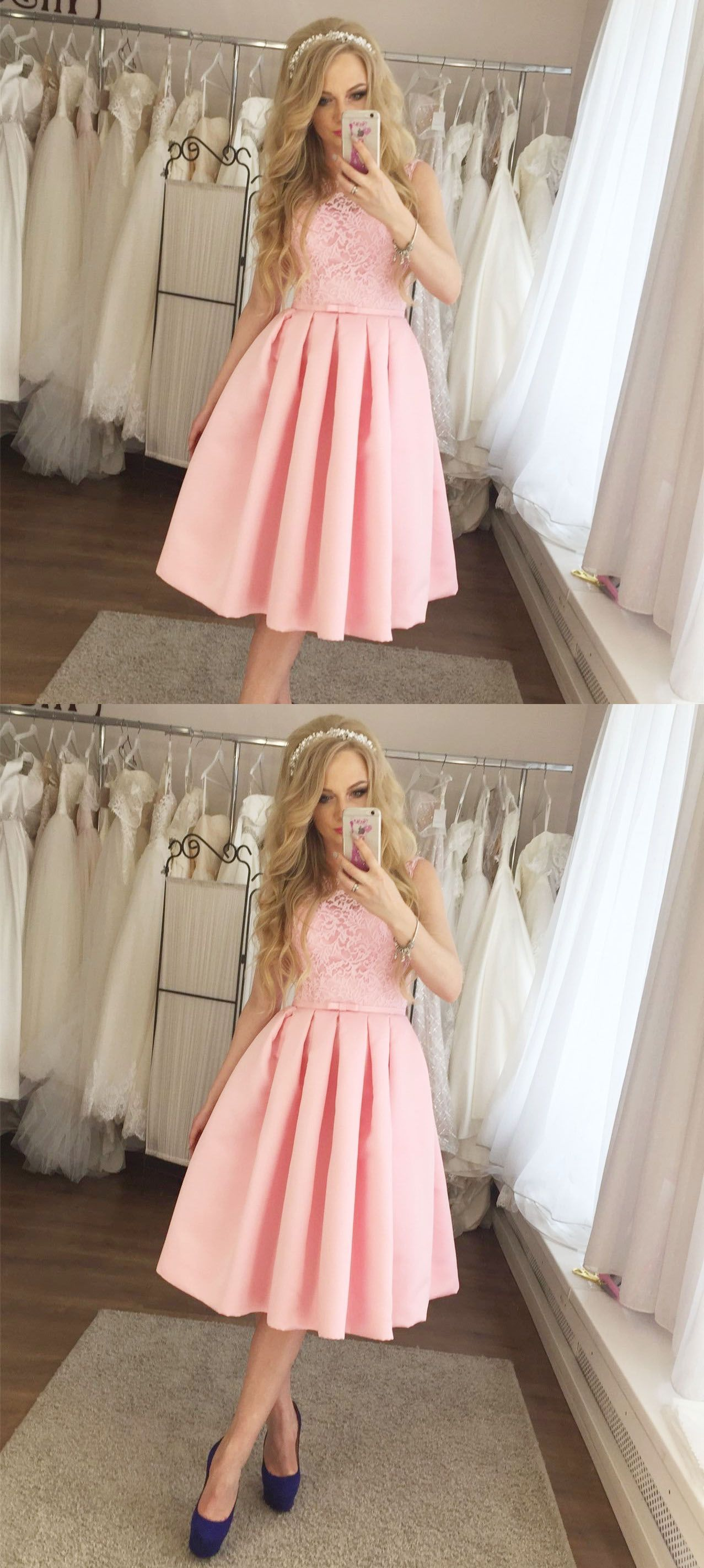 Aline round neck midcalf pink homecoming dress with lace in