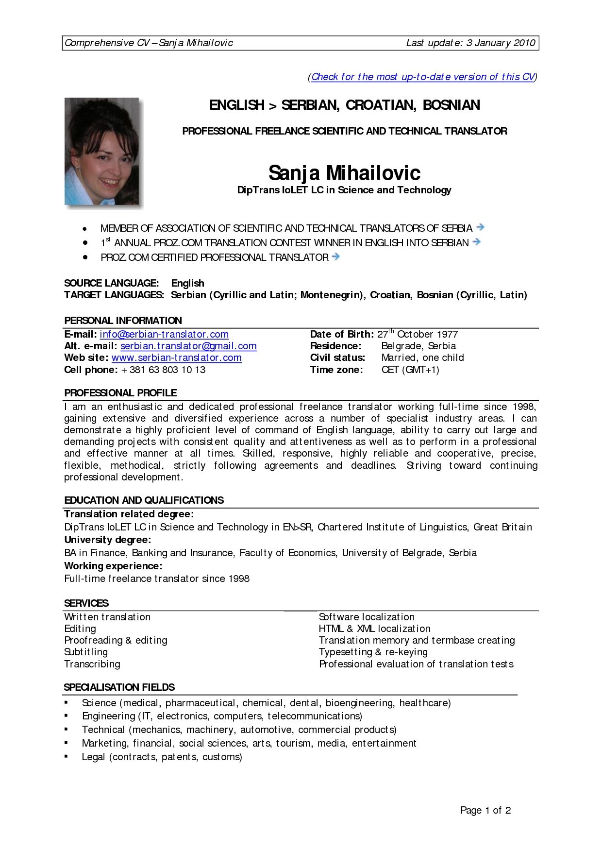 Professional 2 Page Resume Examples 2 Resume Format