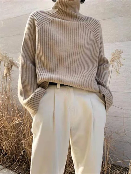 Elegant Fashion High Neck Long Sleeve Sweaters – linenlooks  knit sweater outfit,crocheted sweater,sweaters outfits  #sweatersoutfits #knitsweateroutfit #knitwear