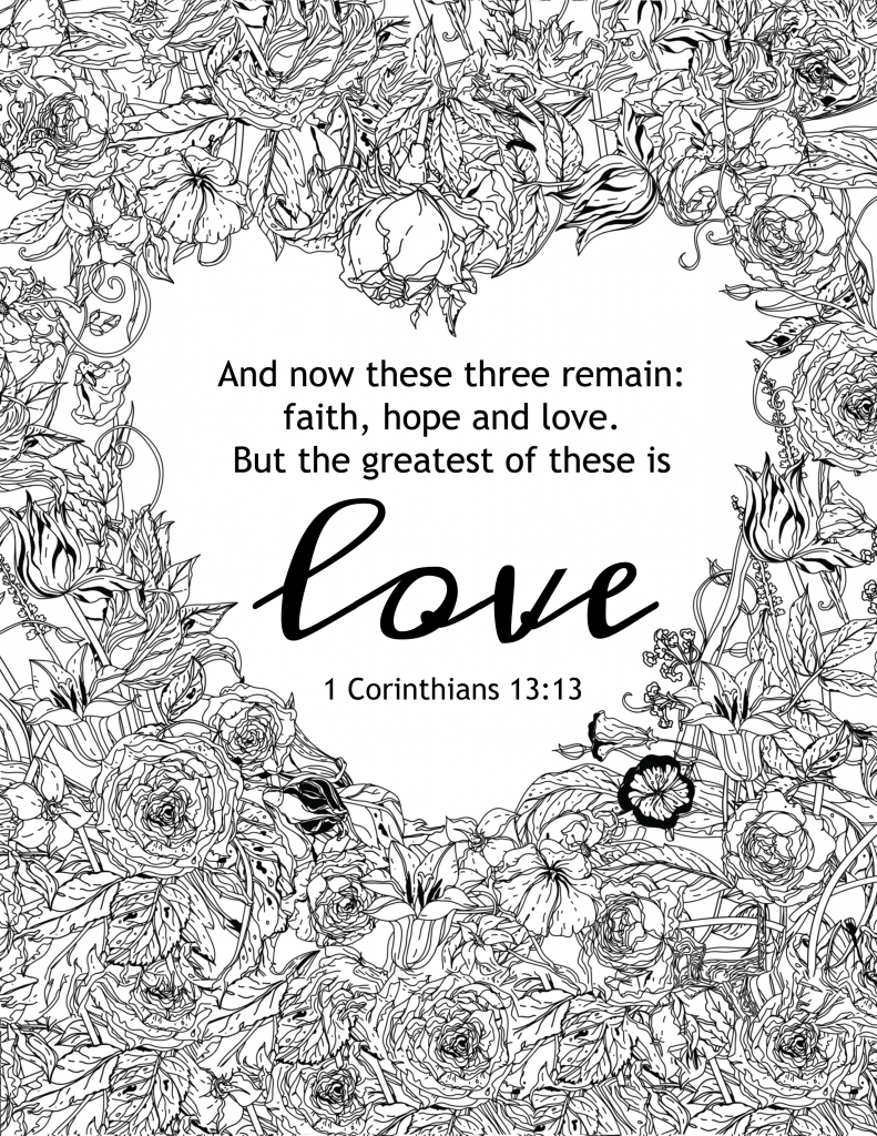 Thanksgiving coloring pages with bible verses - The Greatest Of These Is Love Coloring Page And More Free Pages To Color
