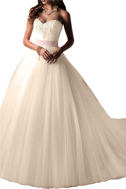 Gorgeous Bride - Elegantes Brautkleid - Traegerlos Prinzessin Lang ...