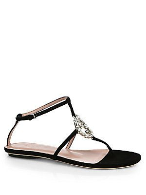 a4a1311a9263 Gucci GG Crystal Leather   Suede Thong Sandals