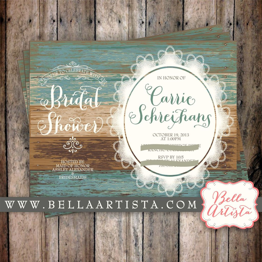 High Quality Rustic Bridal Shower Invitation Country Chic, Vintage Lace Invite