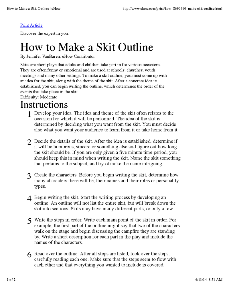 How to Make a Skit Outline  Comedy writing, Skits, Script writing