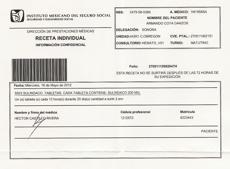 Image Result For Receta Imss Pdf