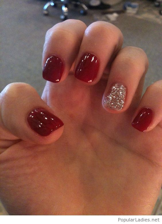 Red Gel Nails With Grey Glitter