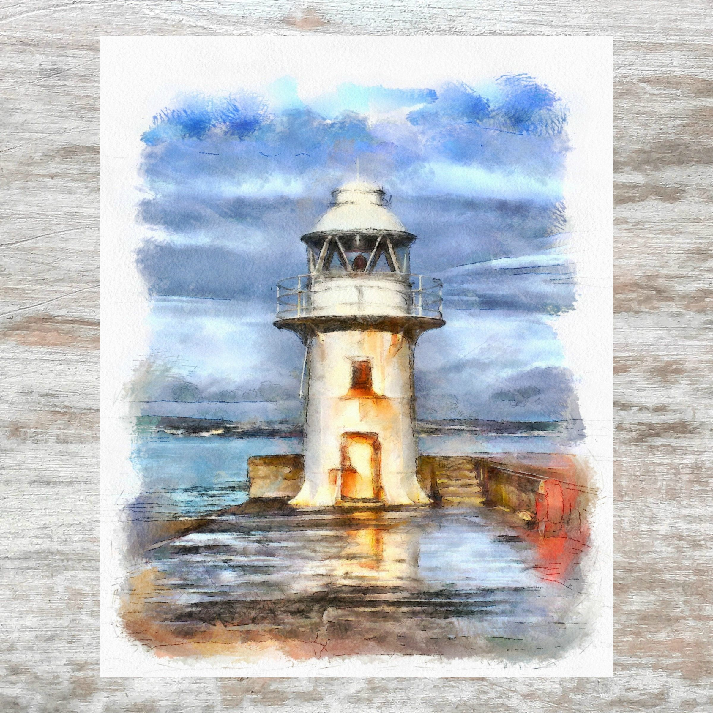 Watercolor Lighthouse Watercolor Scenery Watercolor