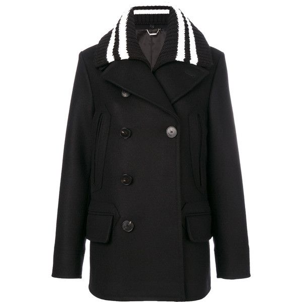 Givenchy Double-Breasted Wool Coat ($2,105) ❤ liked on Polyvore featuring outerwear, coats, black, mid length coat, striped wool coat, long sleeve coat, double-breasted coat and woolen coat