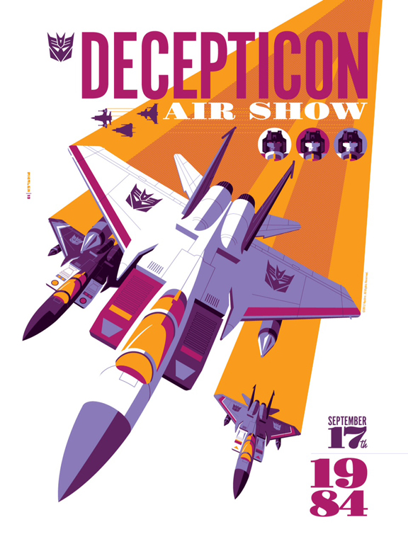"""Decepticon Air Show – poster by Tom Whalen. Limited Edition Licensed Screenprint 18"""" x 24"""" - 5 color screen print. Paper: Domtar Lynx Opaque 100lb. Edition of 150."""