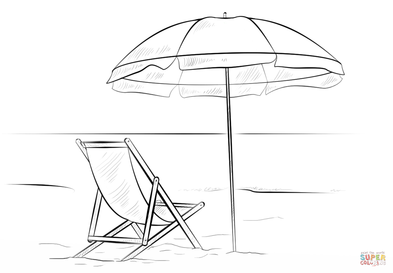 Beach chair and umbrella Super Coloring in 2020 Beach