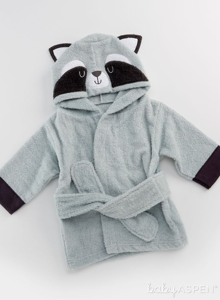 03d1319762 Wrap baby up in snuggly softness with this Forest Friends Raccoon Hooded  Spa Robe after bath time!