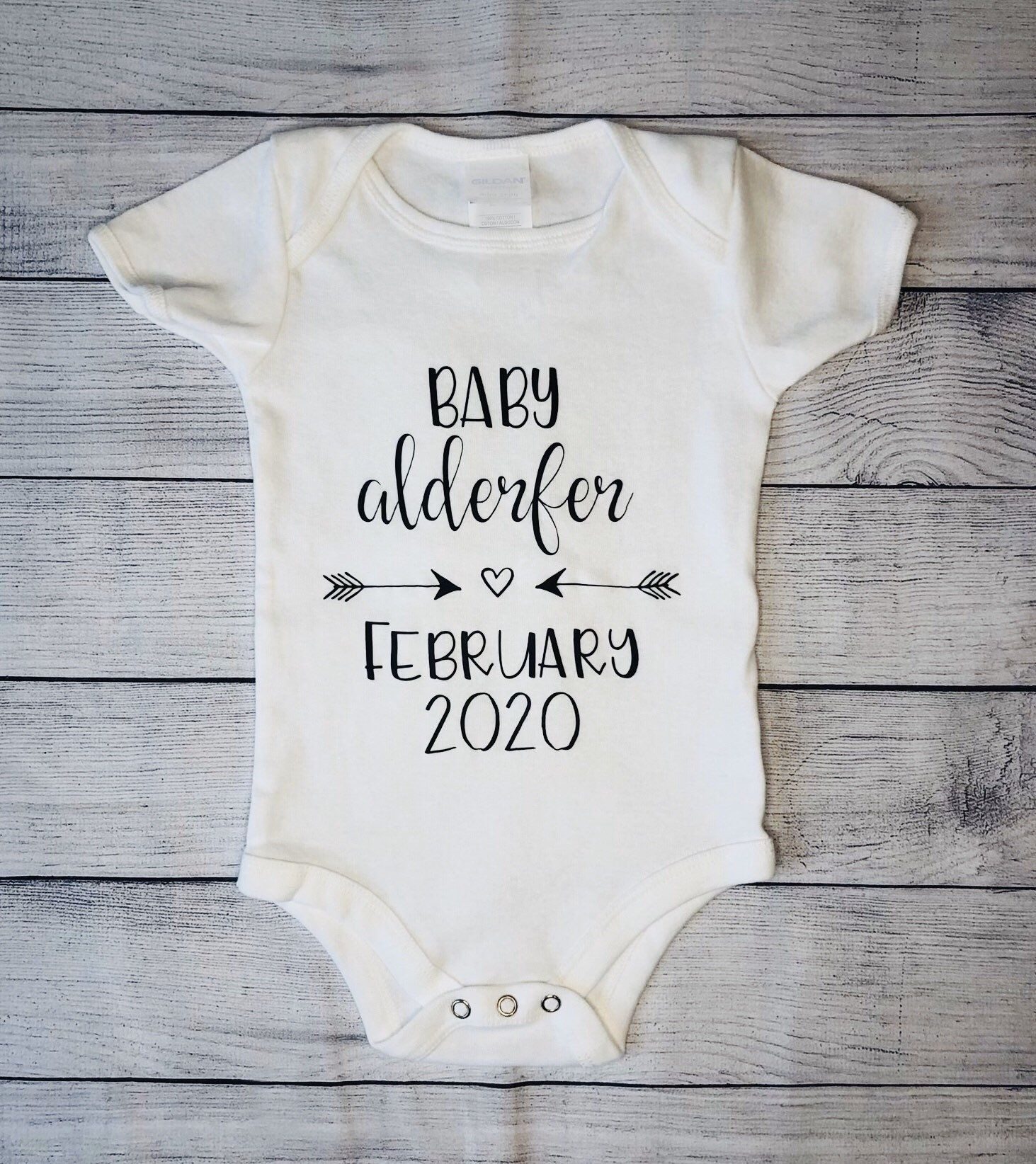 Personalized Baby Pregnancy Announcement Onesie Baby Last Name /& Due Date Bodysuit