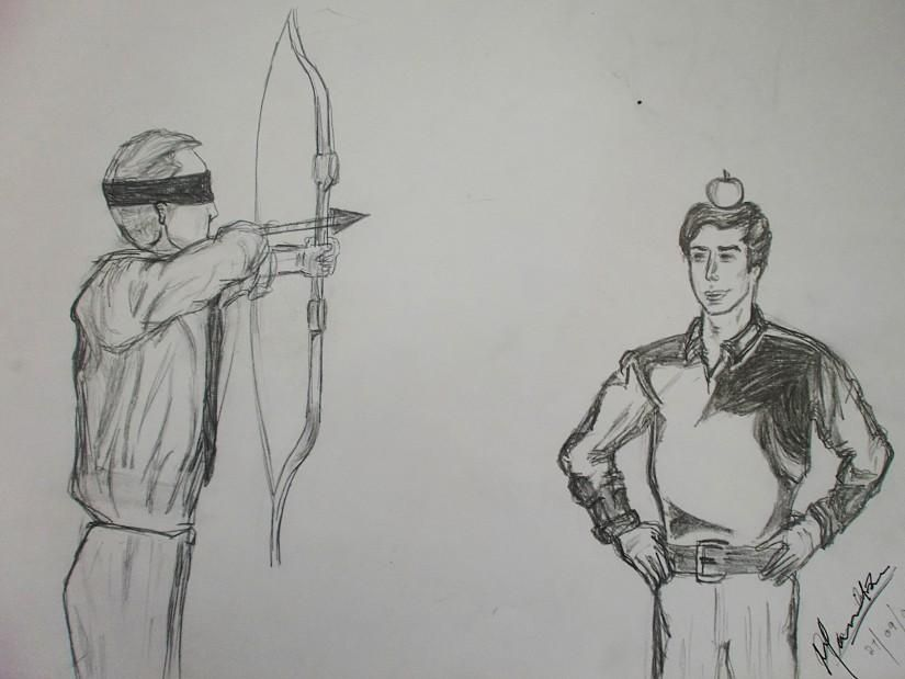 Arrow-Apple - Sketching by Mannika Solanki in My Scrapbook at touchtalent