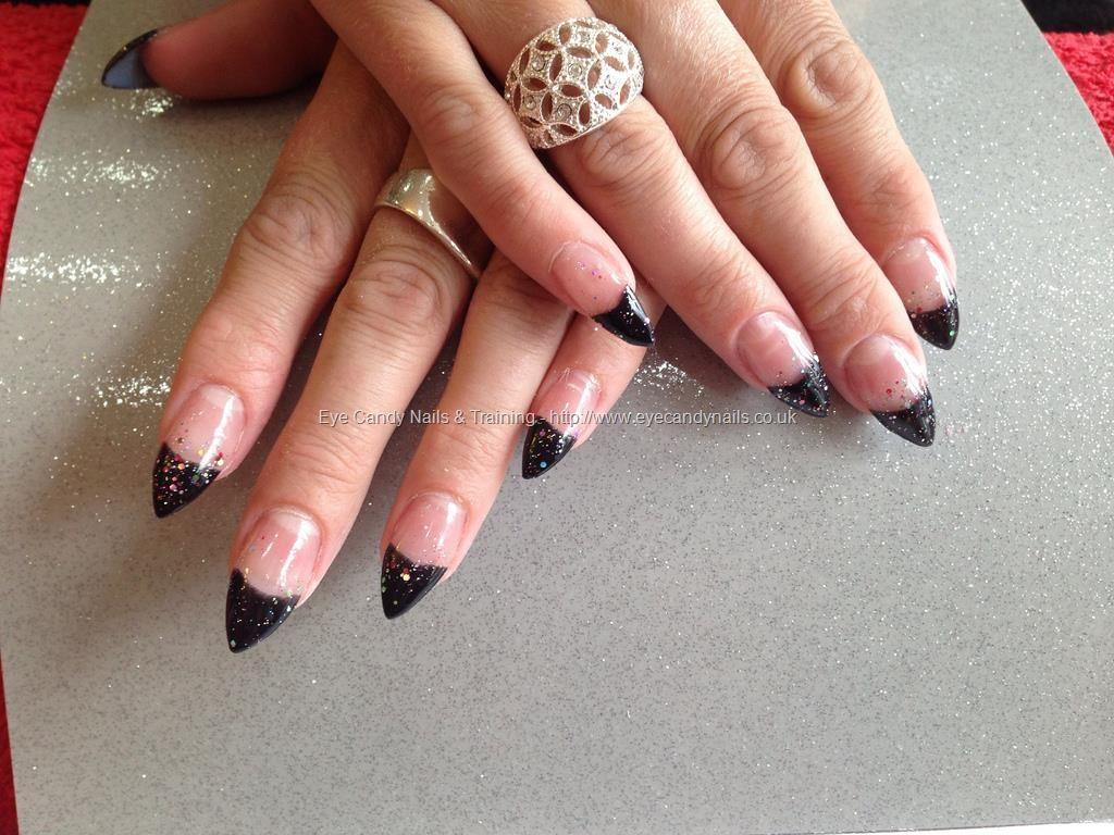 Acrylic+nails+with+black+gel+polish+on+tips   Pretty nails ...