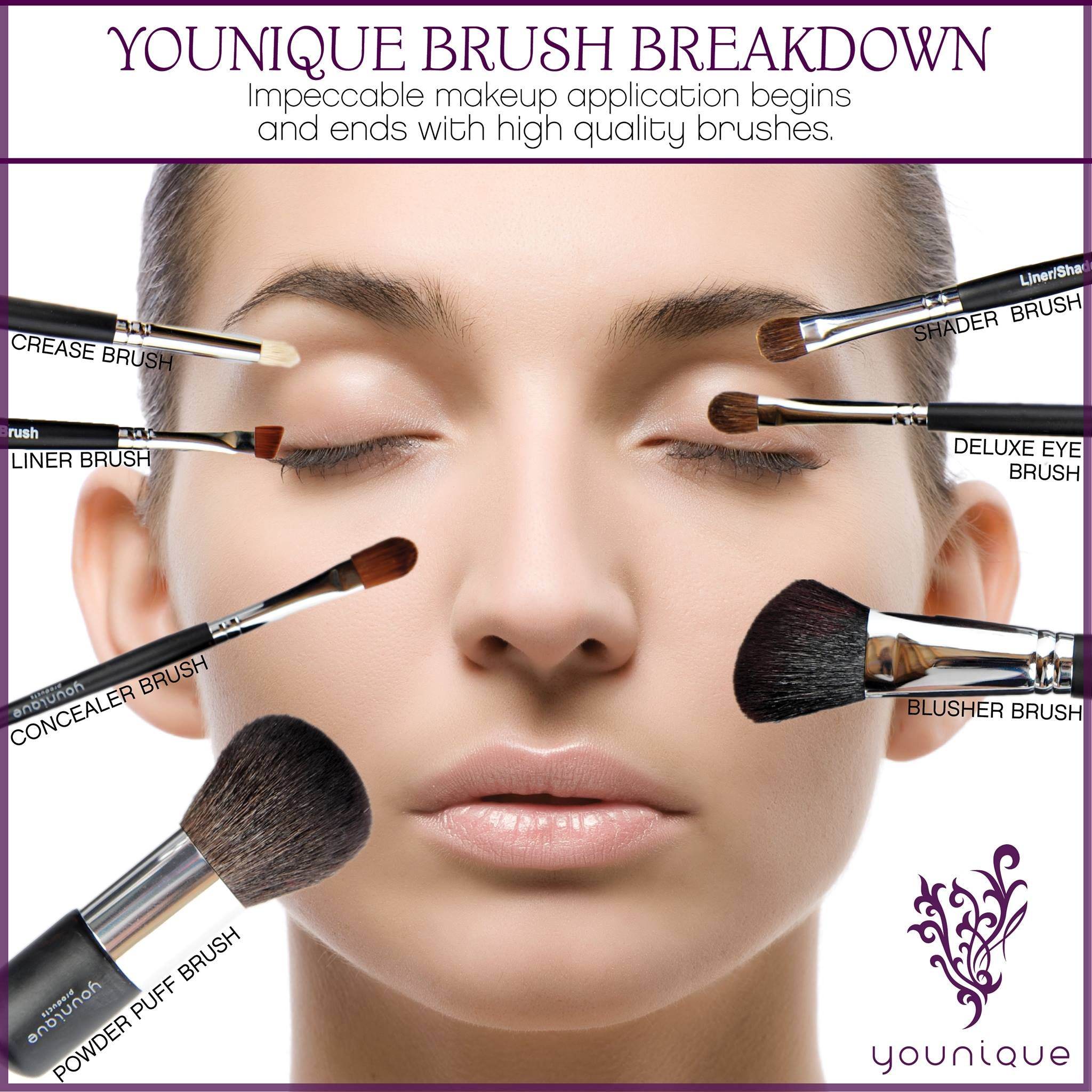 this is a great diagram showing how and where to use each of our high quality younique makeup brushes  [ 2048 x 2048 Pixel ]