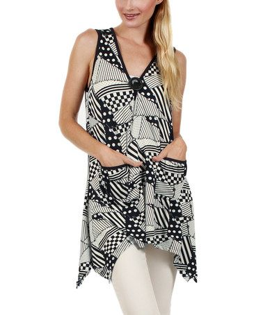 This Blue & White Abstract Handkerchief Tunic by Aster is perfect! #zulilyfinds