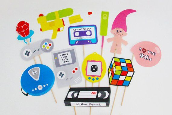 90s Photo Booth Props Printable, 90s props, 90s decorations, 90s party, retro | INSTANT DOWNLOAD #90'stoys