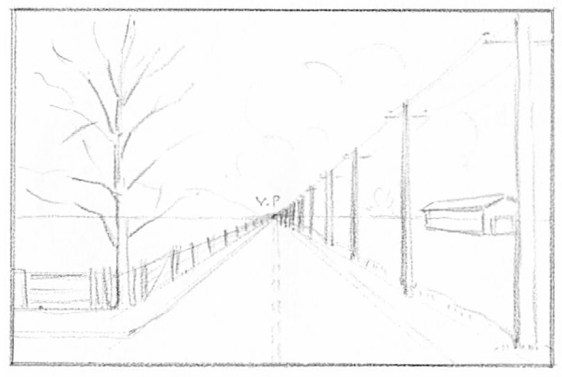 How To Draw Spring Landscape Scene In One Point Perspective Drawing Tutorial With Images Perspective Drawing One Point Perspective Drawing Tutorial