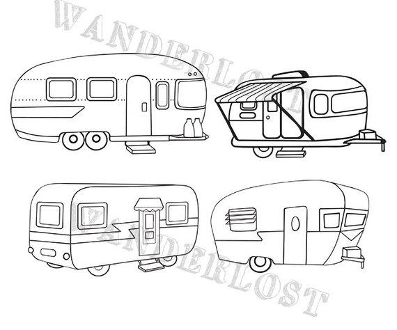 Vintage Campers Airstream Shasta Trailer Clip Art Vector Etsy Vintage Camper Camper Clipart Clip Art Vintage