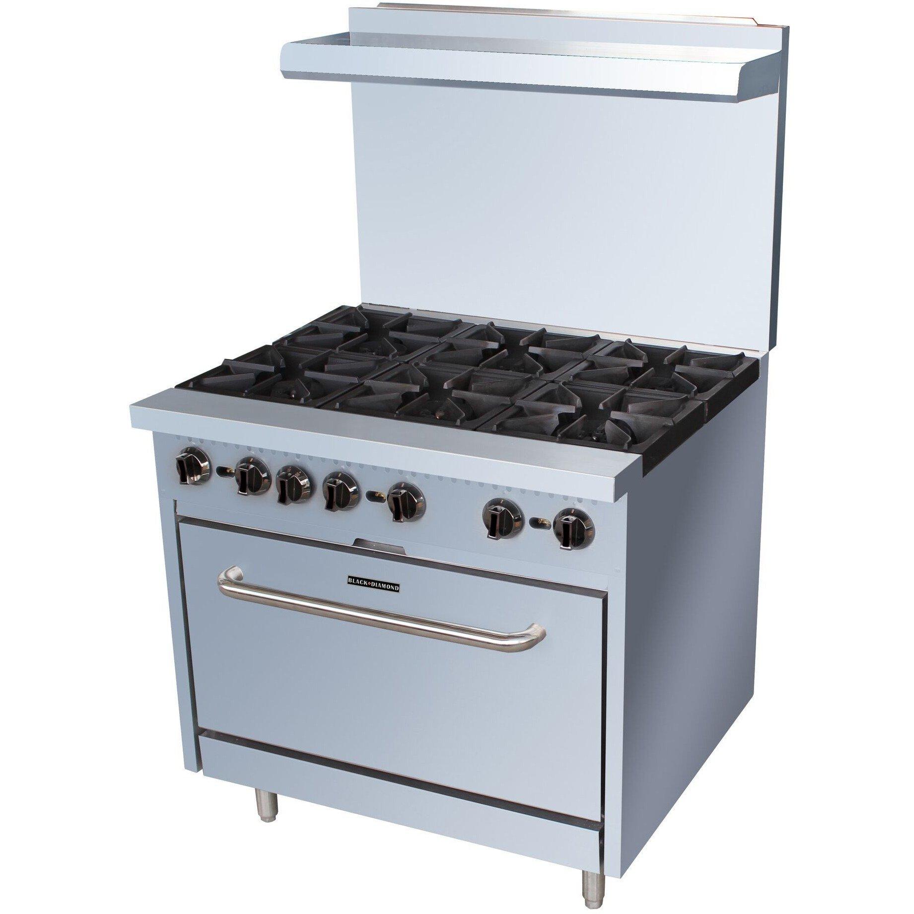 Commercial Kitchen 6 Burner Gas Range Natural Gas 36\