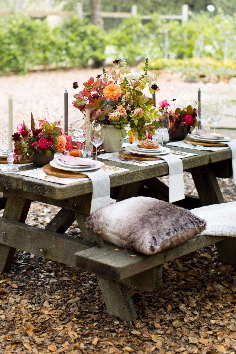 Cozy up at this picnic table with