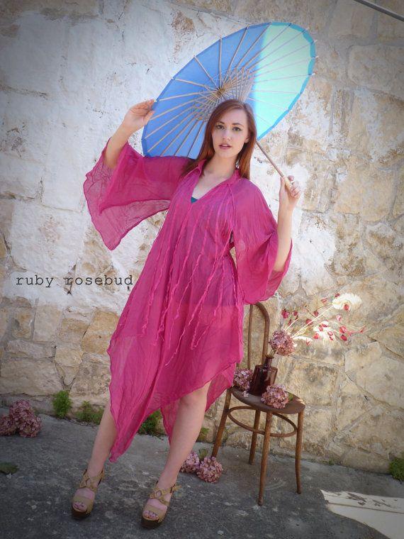 Vintage Pink Caftan Cover Up Dress by arubyrosebud on Etsy, $48.00