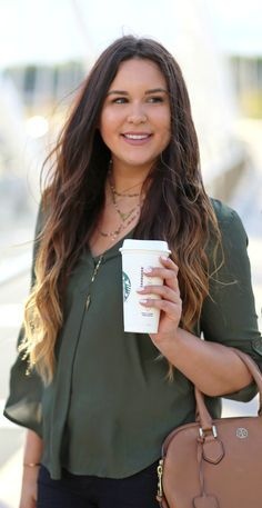 Fall necessities: a tunic, layered necklaces, cognac purse and a pumpkin spice… #winter #fashion #clothing