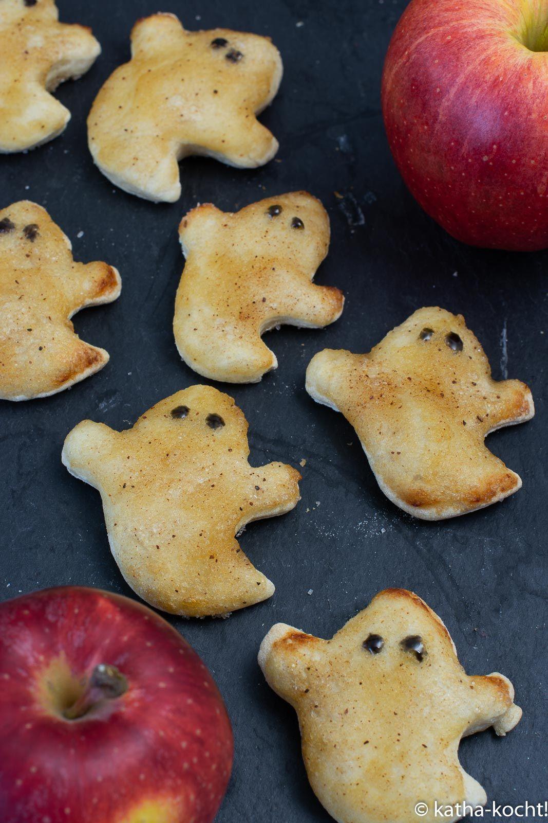 Süße Apfelgeister mit Zucker und Zimt #halloweenkuchen