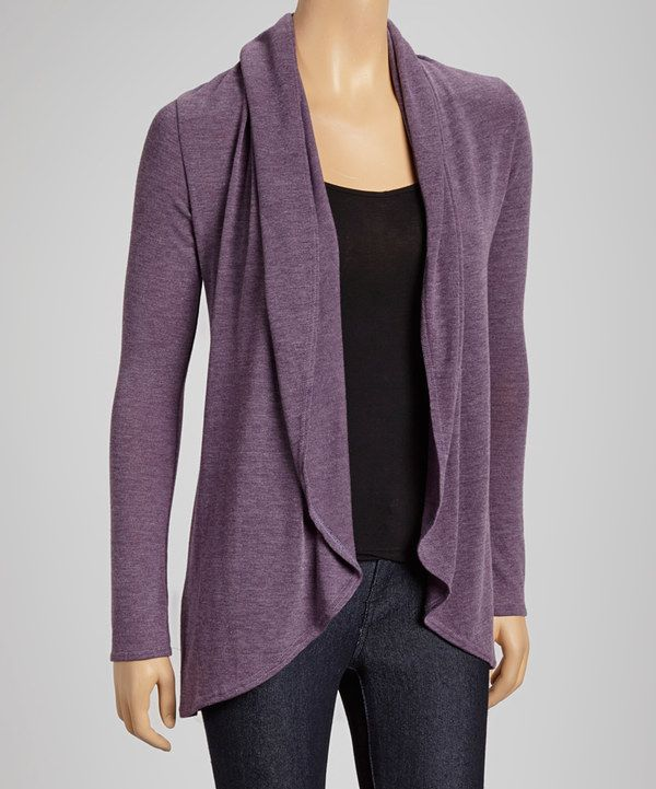 Look at this Casa Lee Purple Open Cardigan on #zulily today!