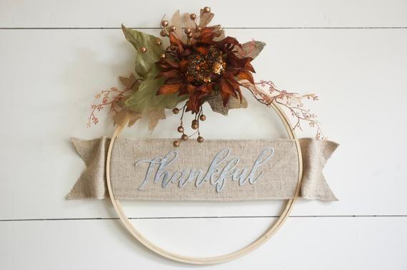Photo of Fall Hoop Wreath, Hoop Wreath, Thanksgiving Wreath, Autumn Wreath, Metal Letters, Modern Wreath, Thanksgiving Sign, Harvest Wreath