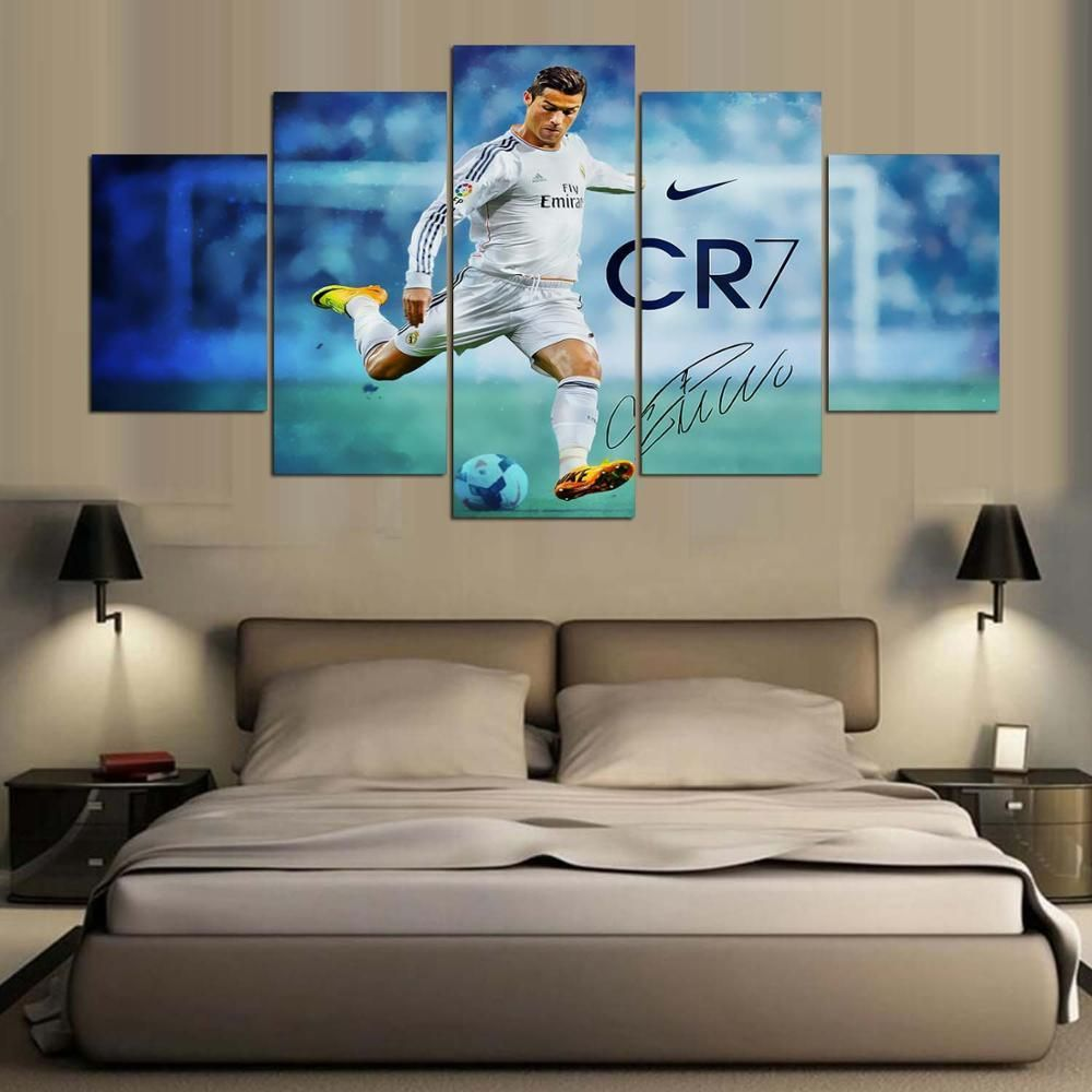 Real Madrid Ronaldo Soccer Football Sports Framed 5 Piece Panel Canvas Wall Art Print – Large / With Frame