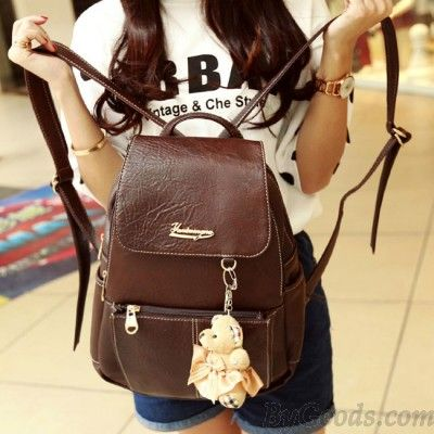 Adorable Brown Leather Backpack with Little White Teddy Bear Keychain 5606ce9ae6a2