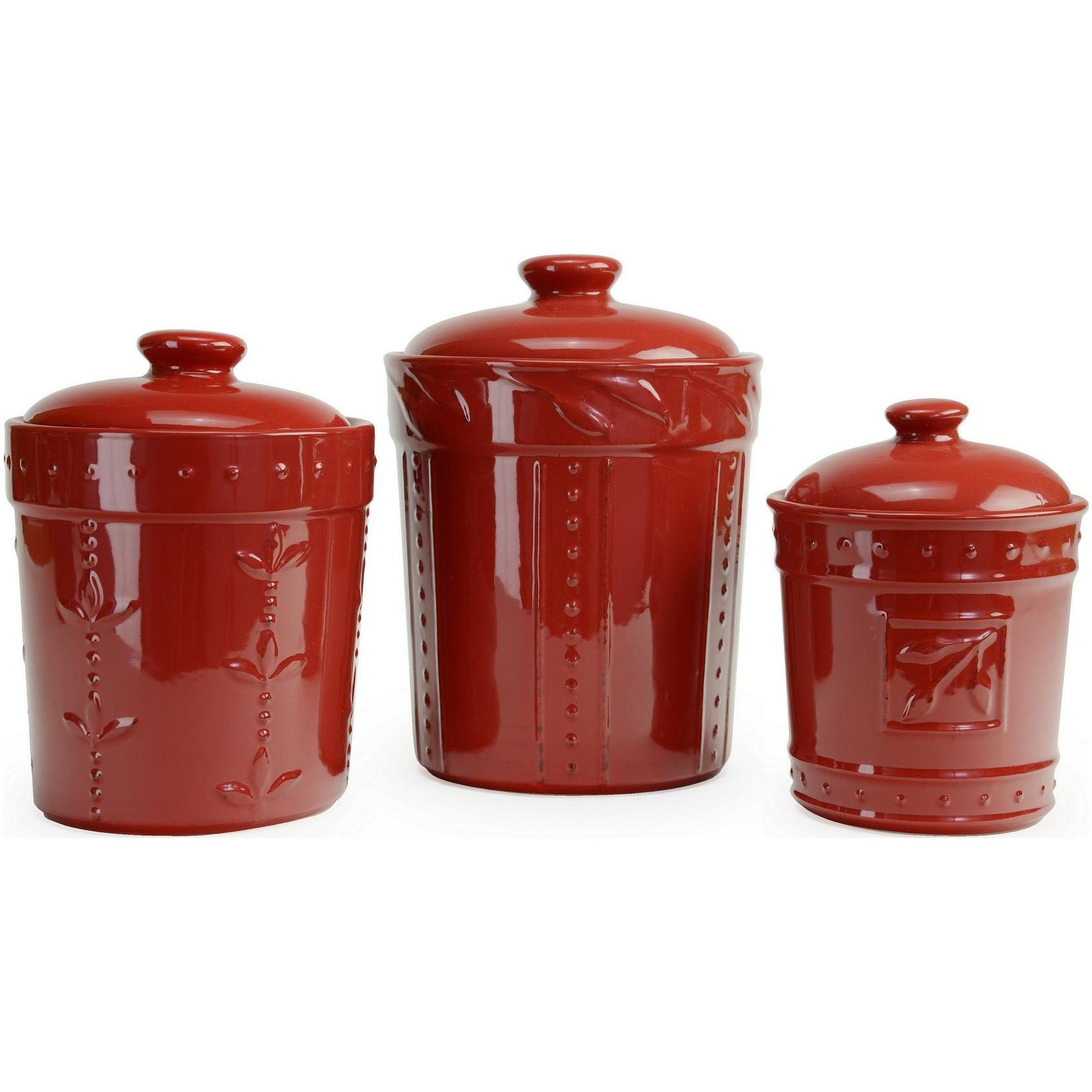 signature housewares sorrento kitchen canister set ruby