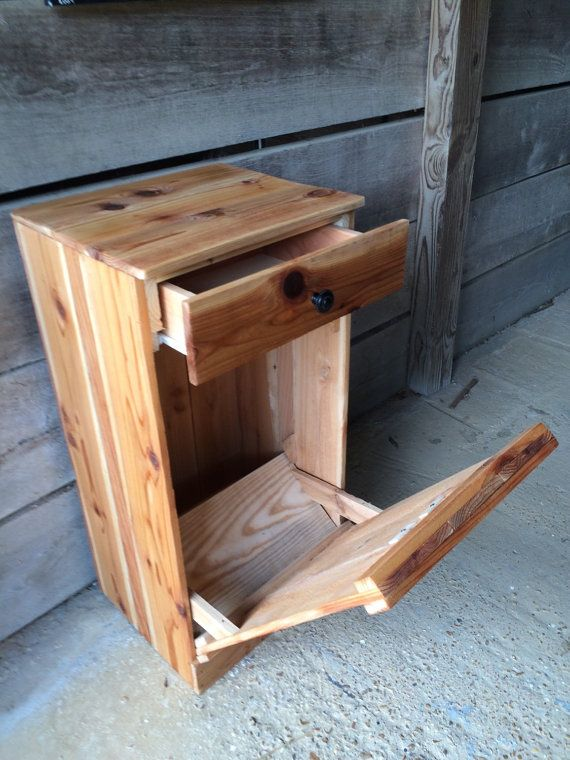 Tilt Out Trash Bin Wood Trash Can Natural Stain Is The Color This