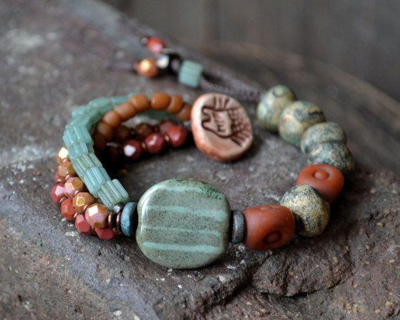 Trade bead bracelet, Bohemian tribal bracelet, African Kazuri bracelet, Aqua rust bracelet, Earthy bohemian, Gypsy boho, Indonesian glass